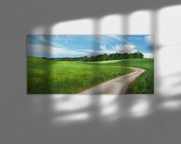 pictorial rural landscape with winding country lane and little c van Susanne Bauernfeind