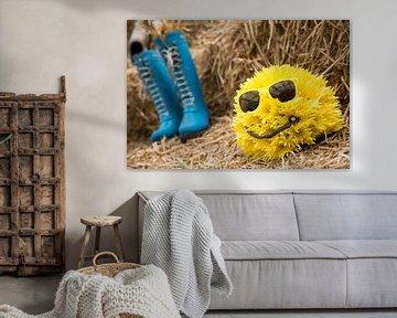 Lief geel bolletje bloemen mannetje met blauwe kaplaarzen op een hooiberg von Dexter Reijsmeijer