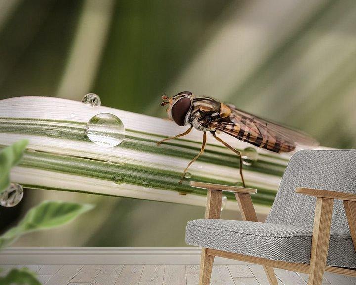 Sfeerimpressie behang: Hover fly van Erich Werner