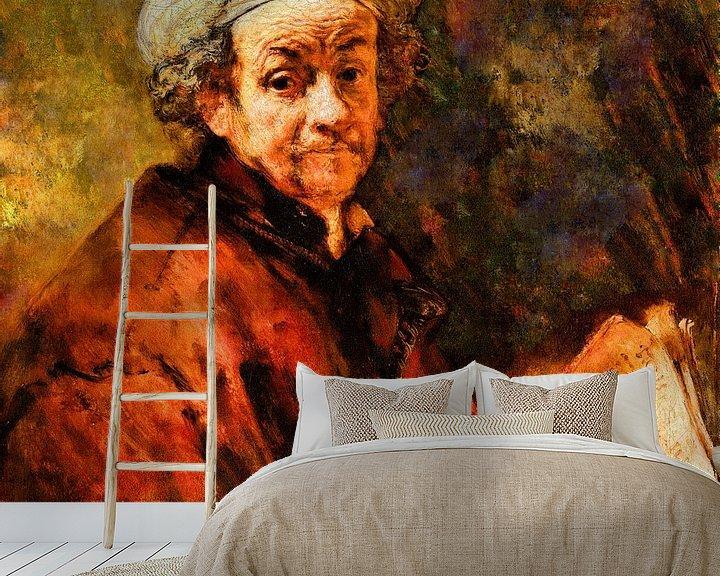 Sfeerimpressie behang: Zelfportret Rembrandt van Rijn van Theo van der Genugten
