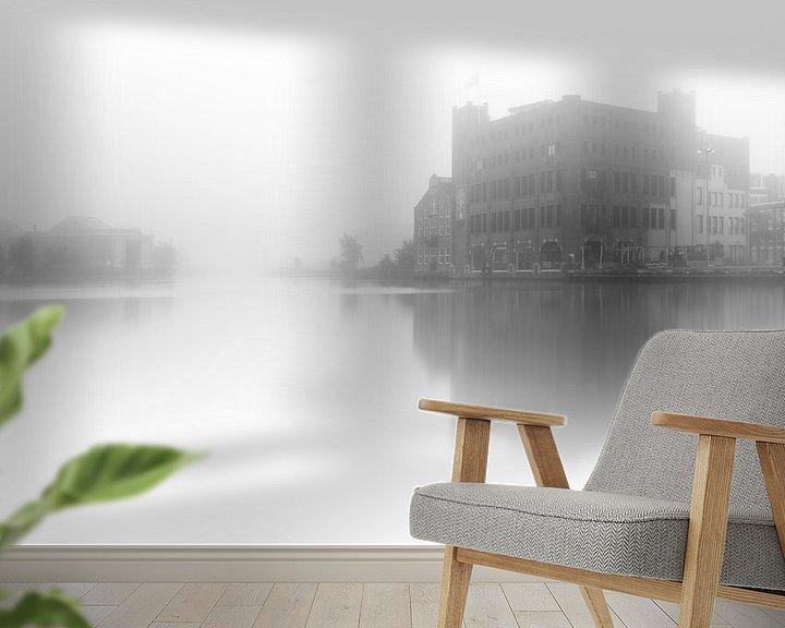 Impression: Haarlem zwart wit: Droste in de mist. sur Olaf Kramer