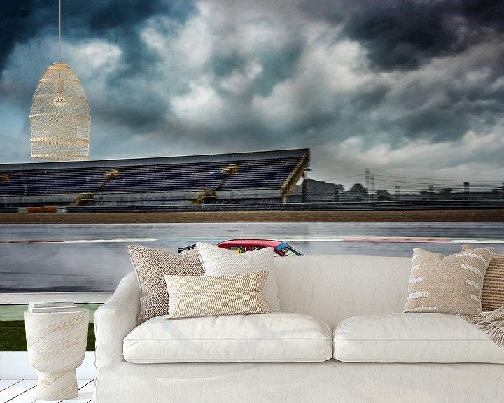 Beispiel fototapete: Renner Alfa Romeo 155 im Regen auf TT-Rennstrecke Assen von autofotografie nederland