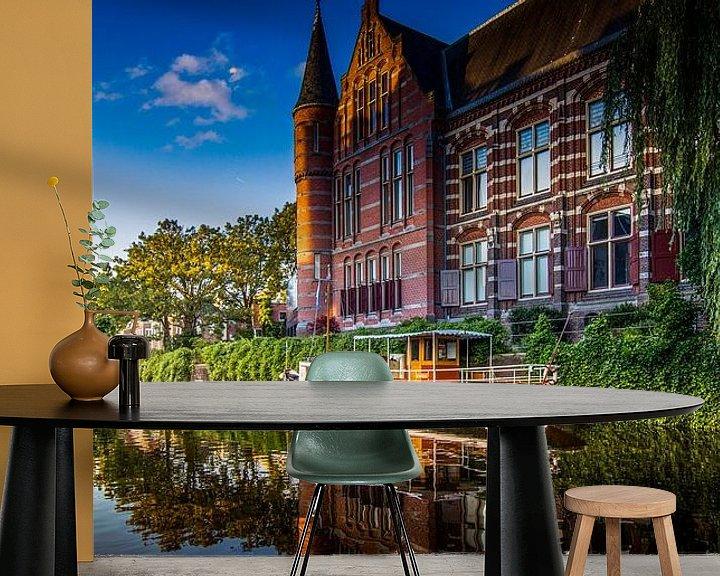 Sfeerimpressie behang: Zonsondergang bij het 'Hoge der A' in Groningen van Jacco van der Zwan