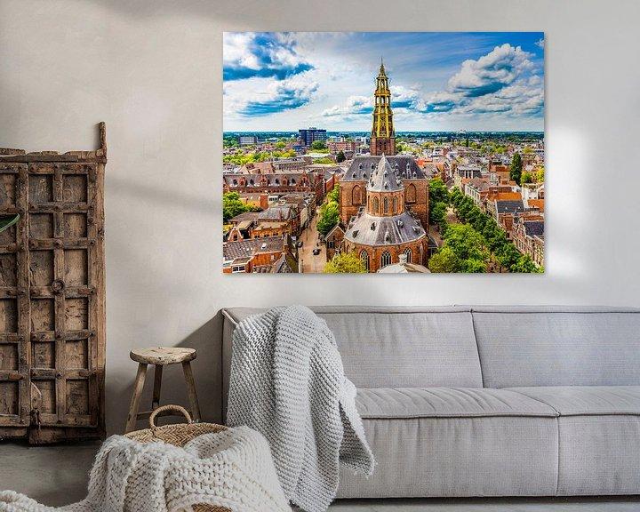 Sfeerimpressie: Skyline Groningen met de Der-Aa kerk van Jacco van der Zwan