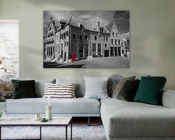 Red Postbox in Deventer. van Ad Van Koppen
