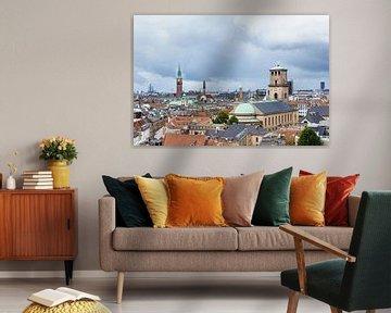 View over the city Copenhagen van Rico Ködder