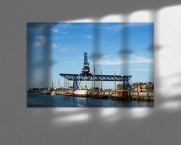 View to the city port in Rostock van Rico Ködder