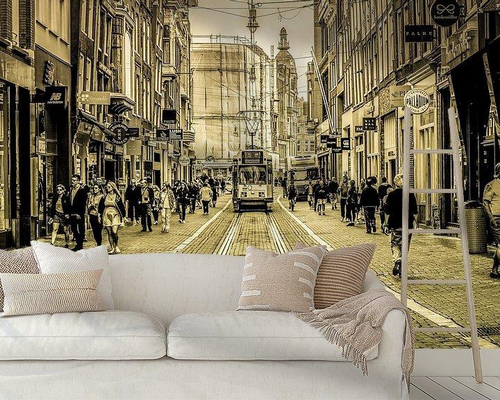 Sfeerimpressie behang: Amsterdamse Leidsestraat van Francisca Snel