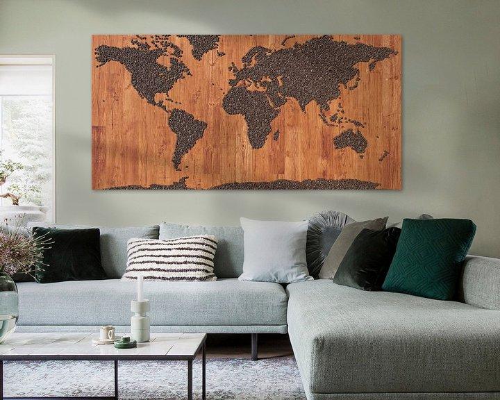 Sfeerimpressie: Wereldkaart koffiebonen van Frans Blok
