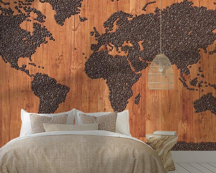 Sfeerimpressie behang: Wereldkaart koffiebonen van Frans Blok