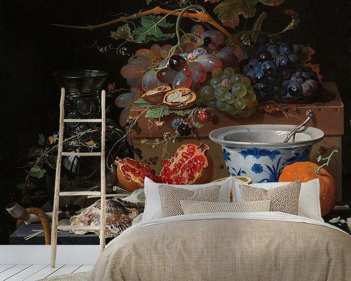 Sfeerimpressie behang: Stilleven met fruit, oesters en porselein, Abraham Mignon