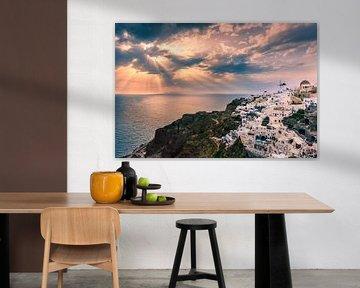 Zonsondergang Oia, Santorini, Griekenland van Henk Meijer Photography
