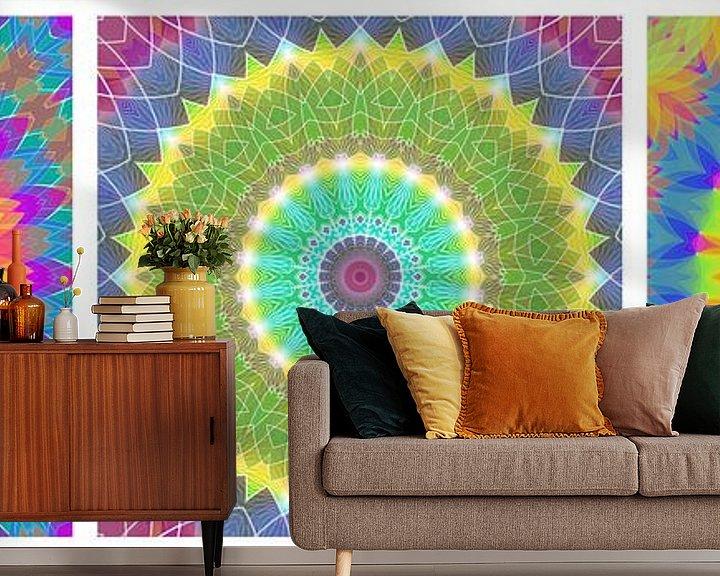 Sfeerimpressie behang: Regenboog Mandalas 3 van Marion Tenbergen