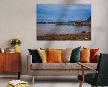 houten pier aan de zweedse kust van Compuinfoto .