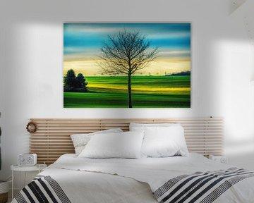 Landscape with small tree van Holger Debek
