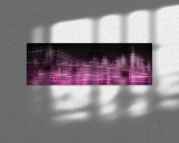 City Shapes MANHATTAN SKYLINE & BROOKLYN BRIDGE | pink von Melanie Viola