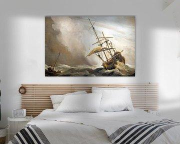 Traditioneel hollands schip gepakt door een windvlaag, bekend als 'De Windvlaag', door Willem van de sur Nisangha Masselink