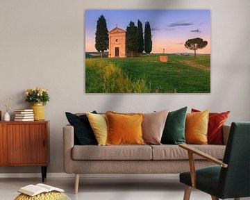 Kapel Madonna di Vitaleta, Toscane, Italië van Henk Meijer Photography