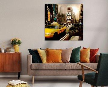 Yelow Cab - Time Square New York van Yvon van der Wijk