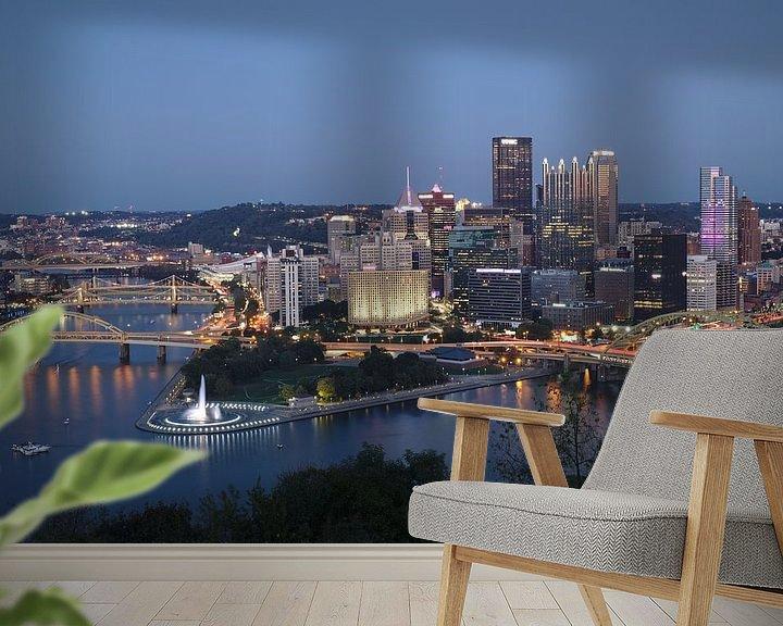 Sfeerimpressie behang: Pittsburgh - city of bridges van Sander Knopper