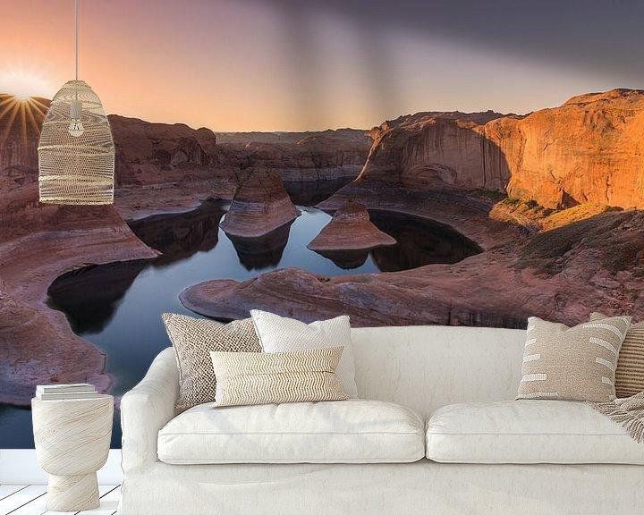 Sfeerimpressie behang: Zonsopkomst in Reflection Canyon, Lake Powell, Utah van Henk Meijer Photography