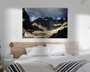 Donkere lucht bergen Ecrins Glacier Noir van Tessa Louwerens