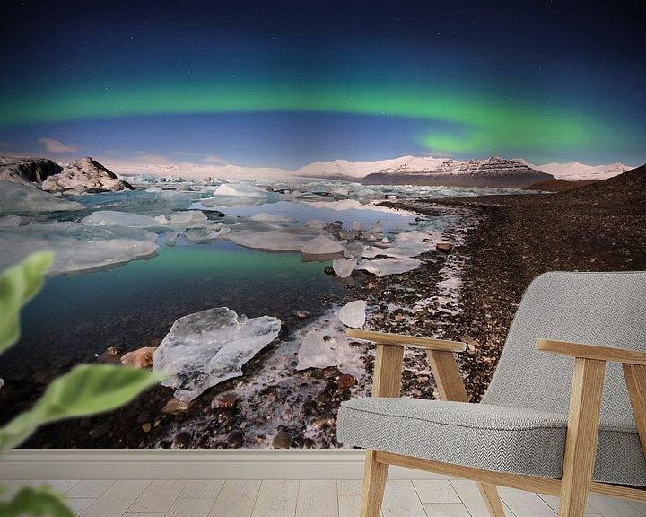 Beispiel fototapete: Nordlichter am See Jokulsárlón von Sjoerd Mouissie