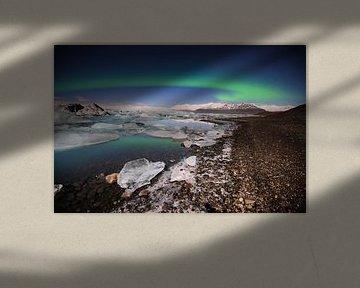 Nordlichter am See Jokulsárlón von Sjoerd Mouissie