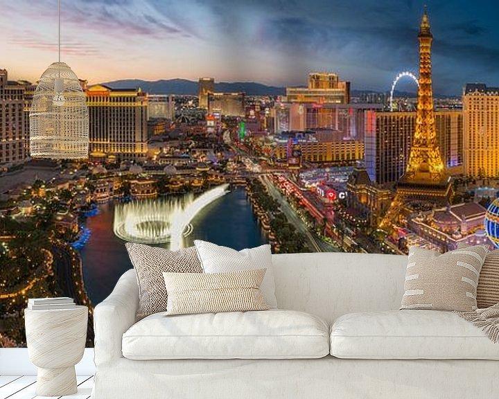 Sfeerimpressie behang: Las Vegas Skyline Panorama - 2 van Edwin Mooijaart