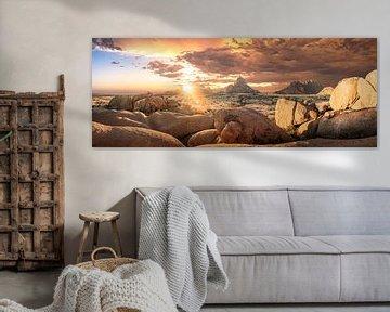 Spitzkoppe Sunset van Thomas Froemmel