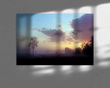 Zonsondergang in het veld van Joost Lagerweij