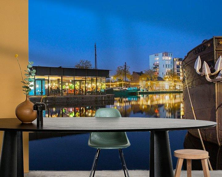 Sfeerimpressie behang: Nieuwe middenpier aan de Tilburgse Piushaven  van Freddie de Roeck