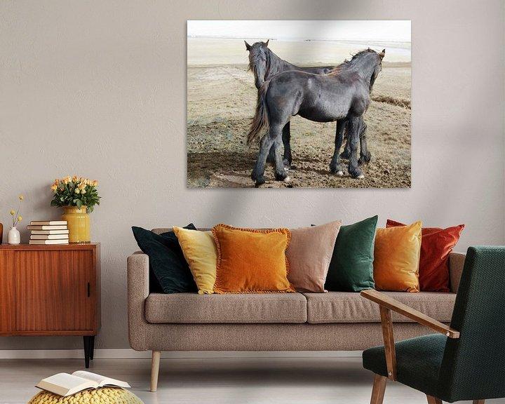 Sfeerimpressie:  27. Buitendijks gebied, Noarderleech, Friese paarden. van Alies werk