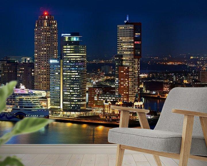 Sfeerimpressie behang: Nachtfoto Montevideo, World Port Center en New Orleans van Anton de Zeeuw