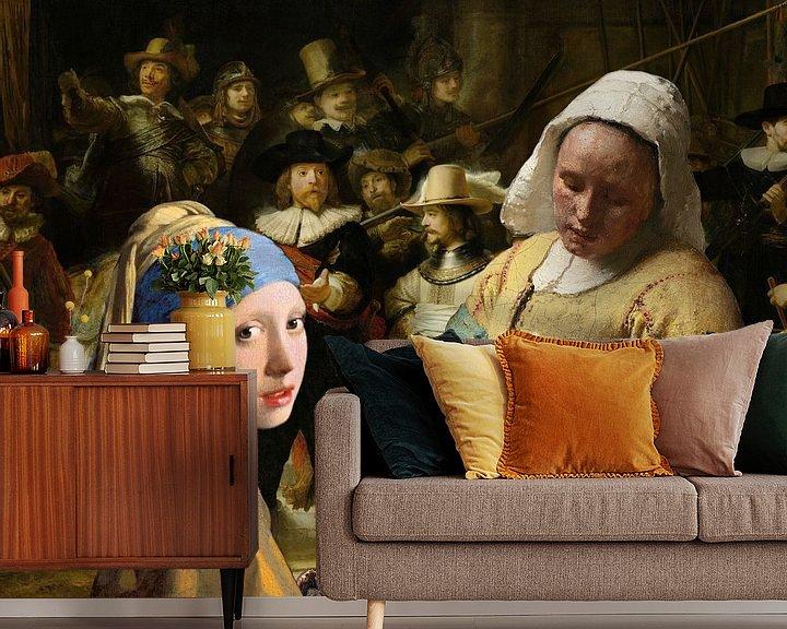 Sfeerimpressie behang: Meisje met de parel - Melkmeisje -  De Nachtwacht 2 van Lia Morcus