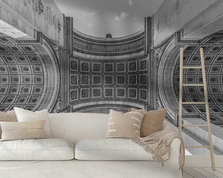Sfeerimpressie behang: De Arc de Triomphe in Parijs van MS Fotografie | Marc van der Stelt
