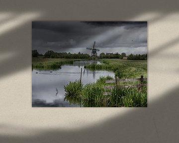 Molen in Hollands landschap
