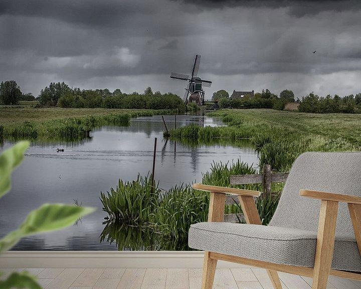 Beispiel fototapete: Mühle in holländischer Landschaft von Eddie Meijer