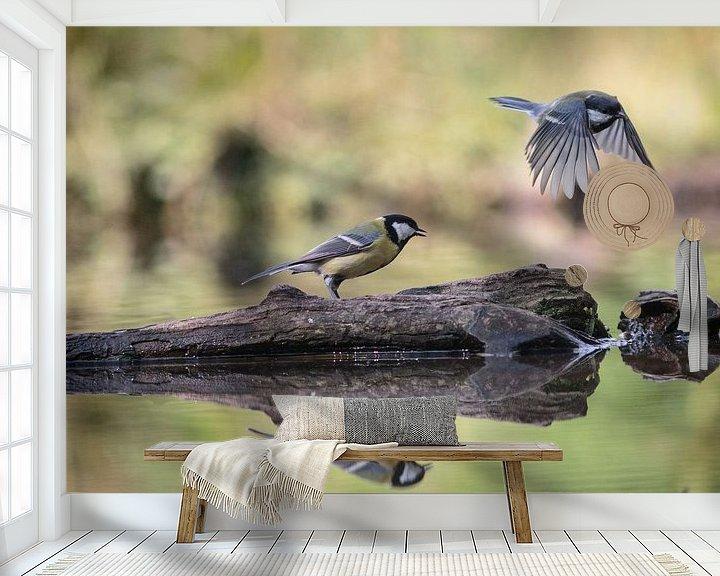 Sfeerimpressie behang: Koolmezen van Eddie Meijer