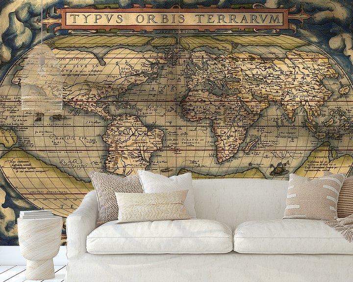Sfeerimpressie behang: Ortelius World Map Typvs Orbis Terrarvm, 1570.
