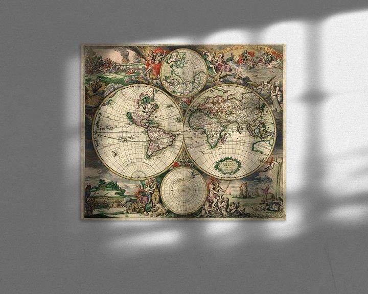 Sfeerimpressie: World map - Produced in Amsterdam, 1689