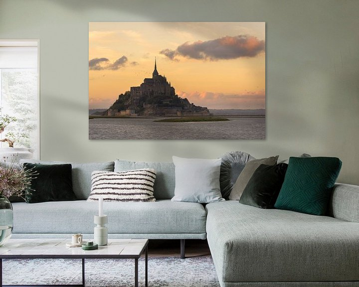 Sfeerimpressie: Mont St-Michel tijdens zonsondergang van Jos Pannekoek