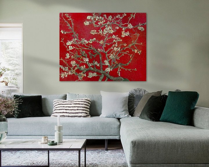 Sfeerimpressie: Amandelbloesem van Vincent van Gogh (Donker rood)