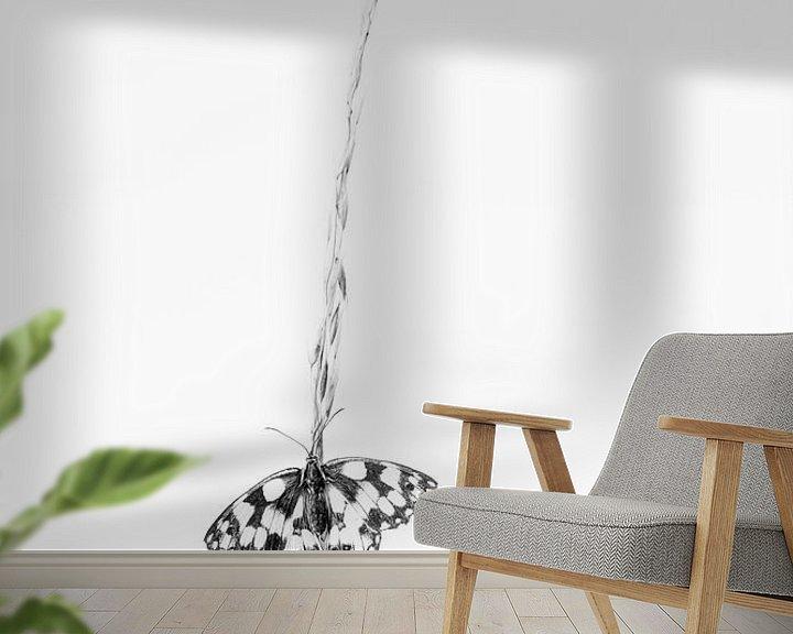 Sfeerimpressie behang: Dambordje in zwart wit van Judith Borremans