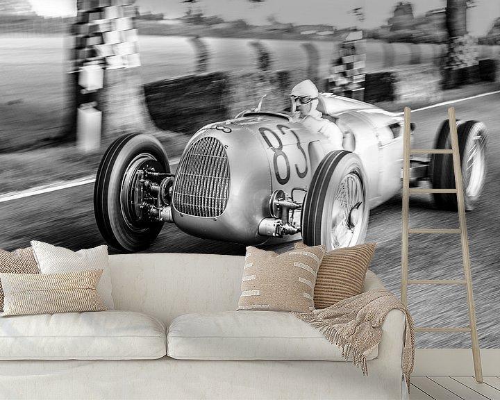 Sfeerimpressie behang: Auto Union Grand Prix Rennwagen Type C V16 van Sjoerd van der Wal