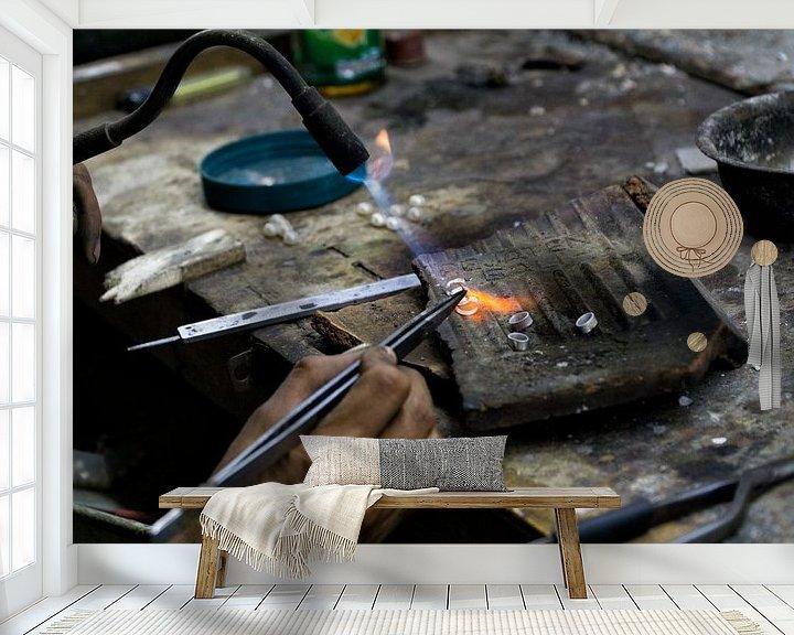 Beispiel fototapete: Working Hands: the silversmith von Brenda Reimers