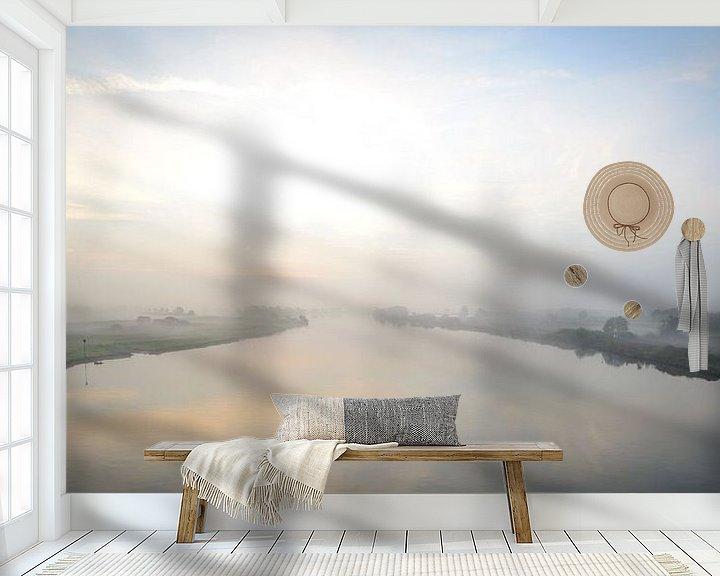 Sfeerimpressie behang: Zonsopkomst boven de rivier de IJssel en de uiterwaarden van Sjoerd van der Wal