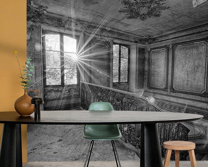 Sfeerimpressie behang: Chateau Secession (zwart-wit) van Rens Bok
