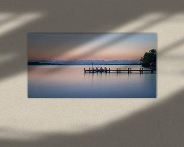 Aanlegsteiger in Starnberger See van Toon van den Einde
