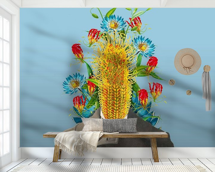 Sfeerimpressie behang: Zelfportret met bloemen 5 van toon joosen